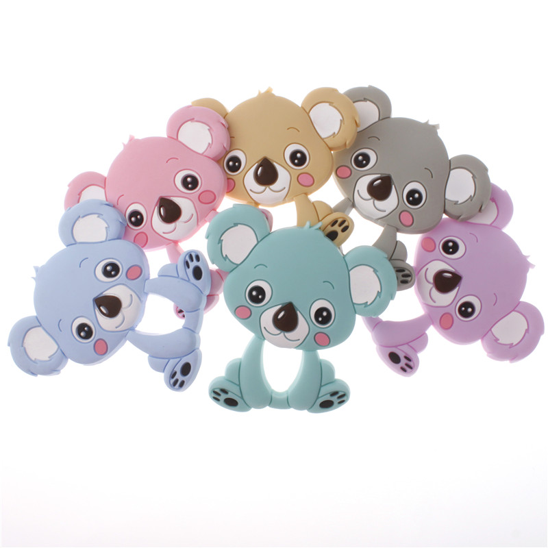 5PC Silicone Cartoon Koala Bear Teether Pendant Bpa Free Silicone Teether Necklace Safe Food Grade Baby Fopspeen Pendant