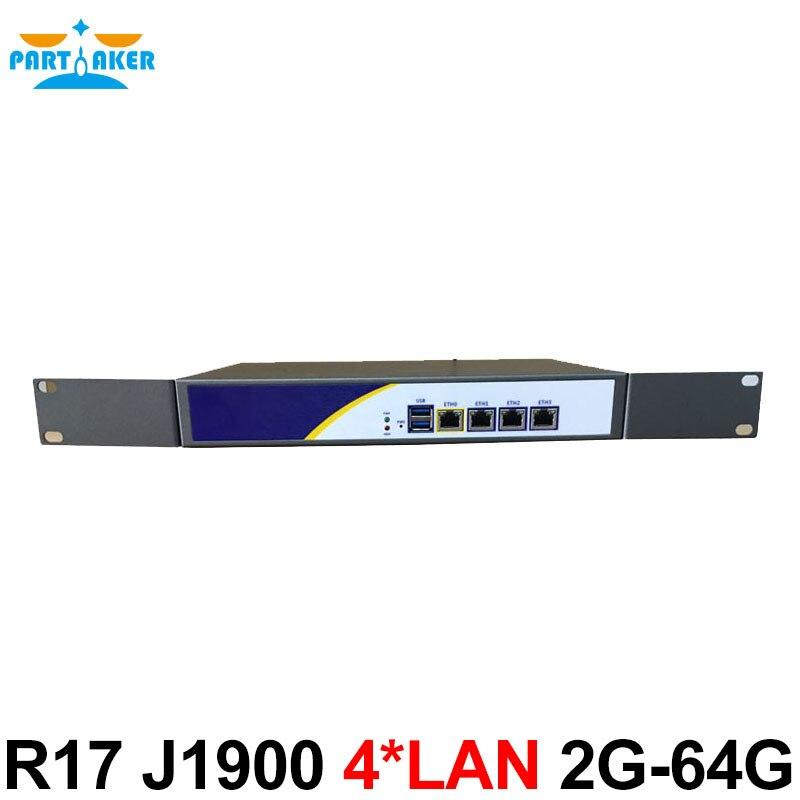 R17 J1900 Mini pc 4 Lan server firewall Appliance Rackmount Server pfsense firewall Router Pfsense for Internet cafe