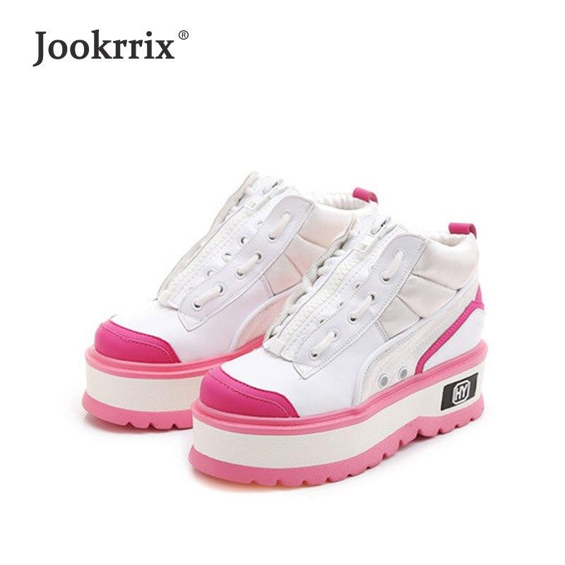 3e77a4a2a2e Comprar Jookrix zapatos de invierno de marca de moda de mujer Zapatillas de  plataforma de mujer Casual chaussure Cross tied otoño mujer calzado  caliente ...