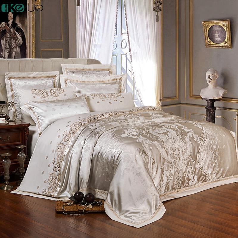 KELUO Wedding Luxury Satin Jacquard Bedding sets