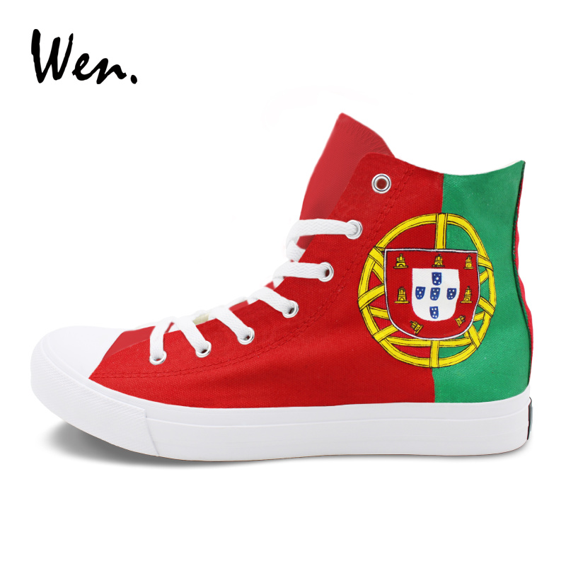 Wen Canvas Shoes Red Green High Top Portugal Flag Hand Painted Shoes Athletic Sneakers Women Men Skateboarding Flat men women converse puerto rico flag hand painted artwork high top canvas shoes unique sneakers