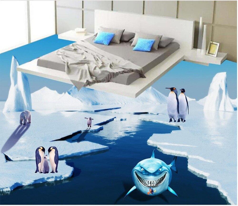 3d floor wallpapers Snow Mountain dolphin Floor wallpaper 3d for bathrooms self-adhesive 3D floor