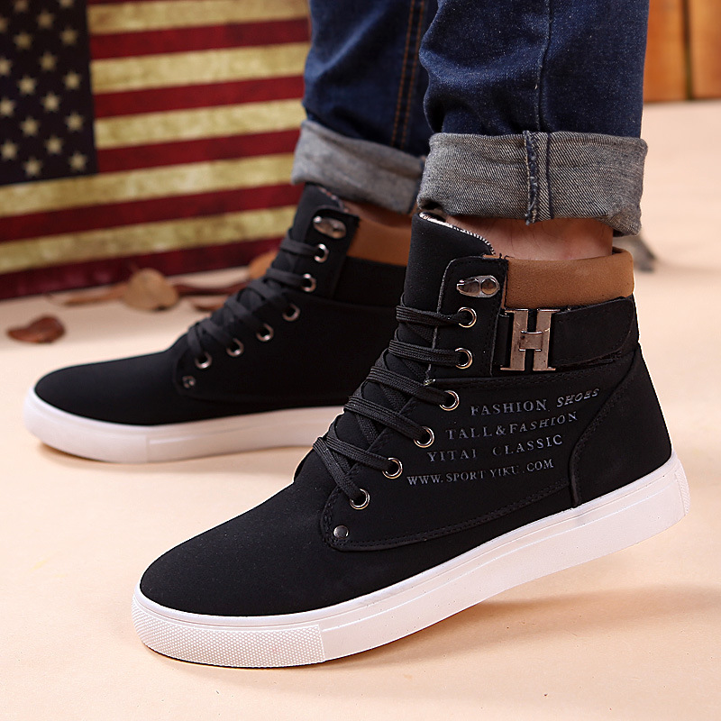 85bf8688d1 New 2018 men shoes winter high top lace up Male casual ankle autumn flock men  shoes British style casual shoes Footwear ET09-in Men s Casual Shoes from  ...
