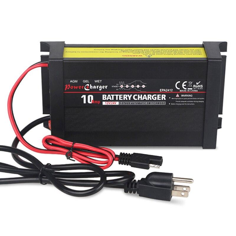 5 étapes automatique 10A 12 v 24 v chargeur de batterie réparation d'impulsion rapide charge intelligente de puissance pour VRLA SLA AGM Gel humide batterie au plomb