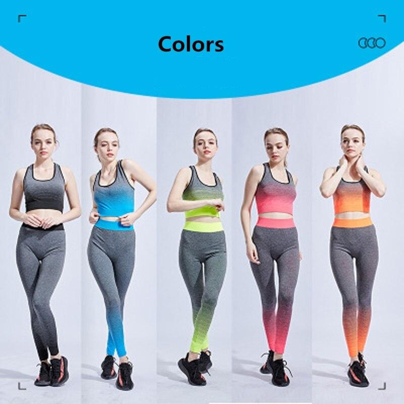 Tracksuit 2 Piece Yoga Set Print Ladies Bra+Lengthy Pants Sportsuite For Ladies Gymnasium Health Sport Swimsuit Ladies Sportswear