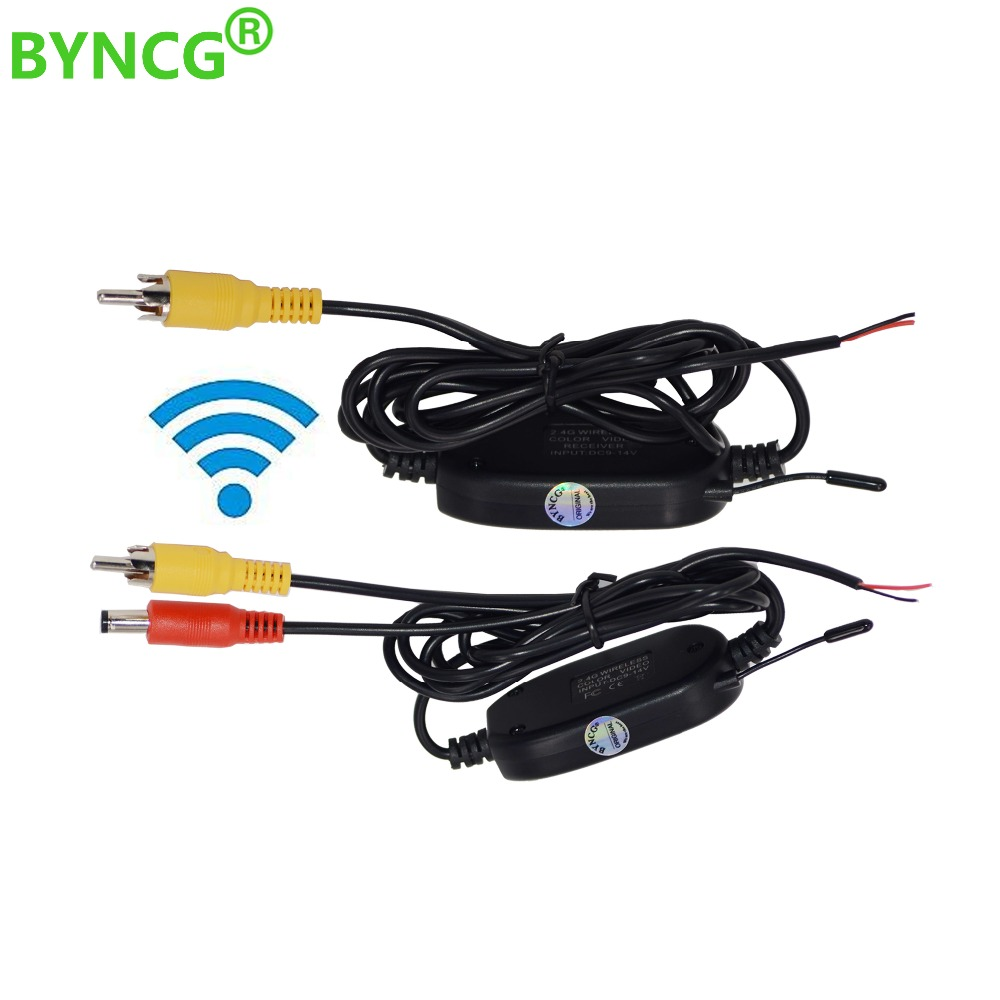 BYNCG 2.4 Ghz Wireless Rear View Camera RCA Video Transmitter & Receiver Kit for Car Rearview Monitor FM Transmitter & Receiver