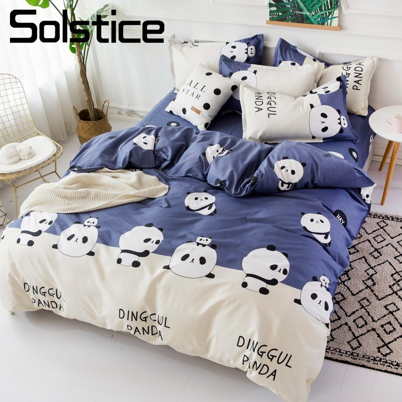 Solstice Home Textile Twin Full Queen King Bedding Set Panda Blue Duvet Cover Pillowcase Flat Sheet Boy Child Kid Girl Bed LinenSolstice Home Textile Twin Full Queen King Bedding Set Panda Blue Duvet Cover Pillowcase Flat Sheet Boy Child Kid Girl Bed Linen