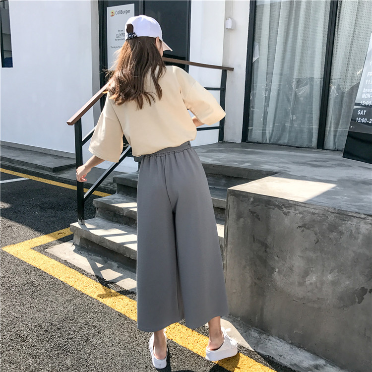19 Women Casual Loose Wide Leg Pant Womens Elegant Fashion Preppy Style Trousers Female Pure Color Females New Palazzo Pants 38