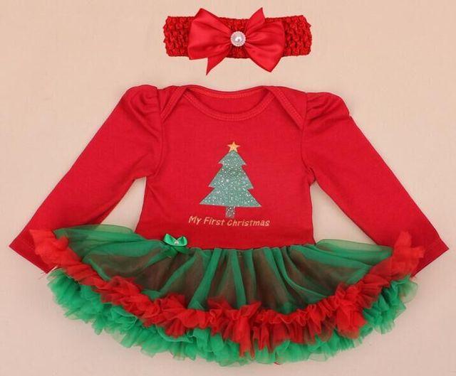 Niña de la ropa de bebé ropa navidad Romper tutu dress + Headband 2 unids/set bebé de Santa Claus ropa