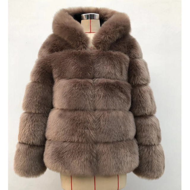 ZADORIN Winter Thick Warm Faux Fur Coat Women Plus Size Hooded Long Sleeve Faux Fur Jacket Luxury Winter Fur Coats bontjas