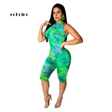Echoine Women Jumpsuit Colorful Sexy Halter Off Shoulder Lace Up Tie-Dye Print Fashion Sheath Knee-Length Pants Romper Outerwear 3 4 length sleeves floral print off shoulder romper