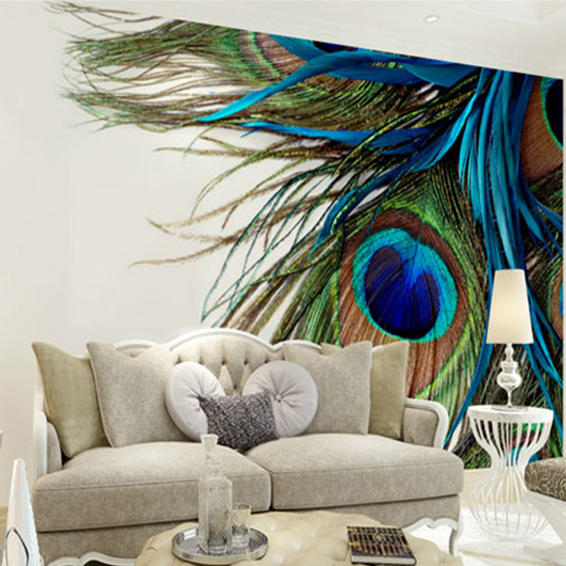 High Quality Modern 3D Stereo Mural Peacock Feather Photo