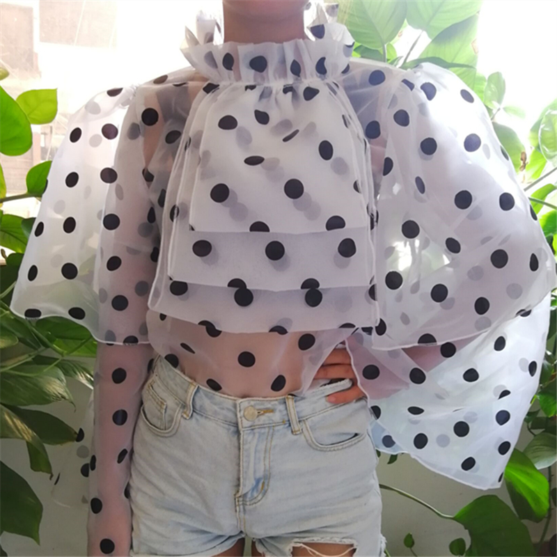 Women Blouses Tops Polka Dot Ruffles Flare Sleeves Thin Tulle Transparent Shirts See Through Elegant Summer Autumn Lady Fashion