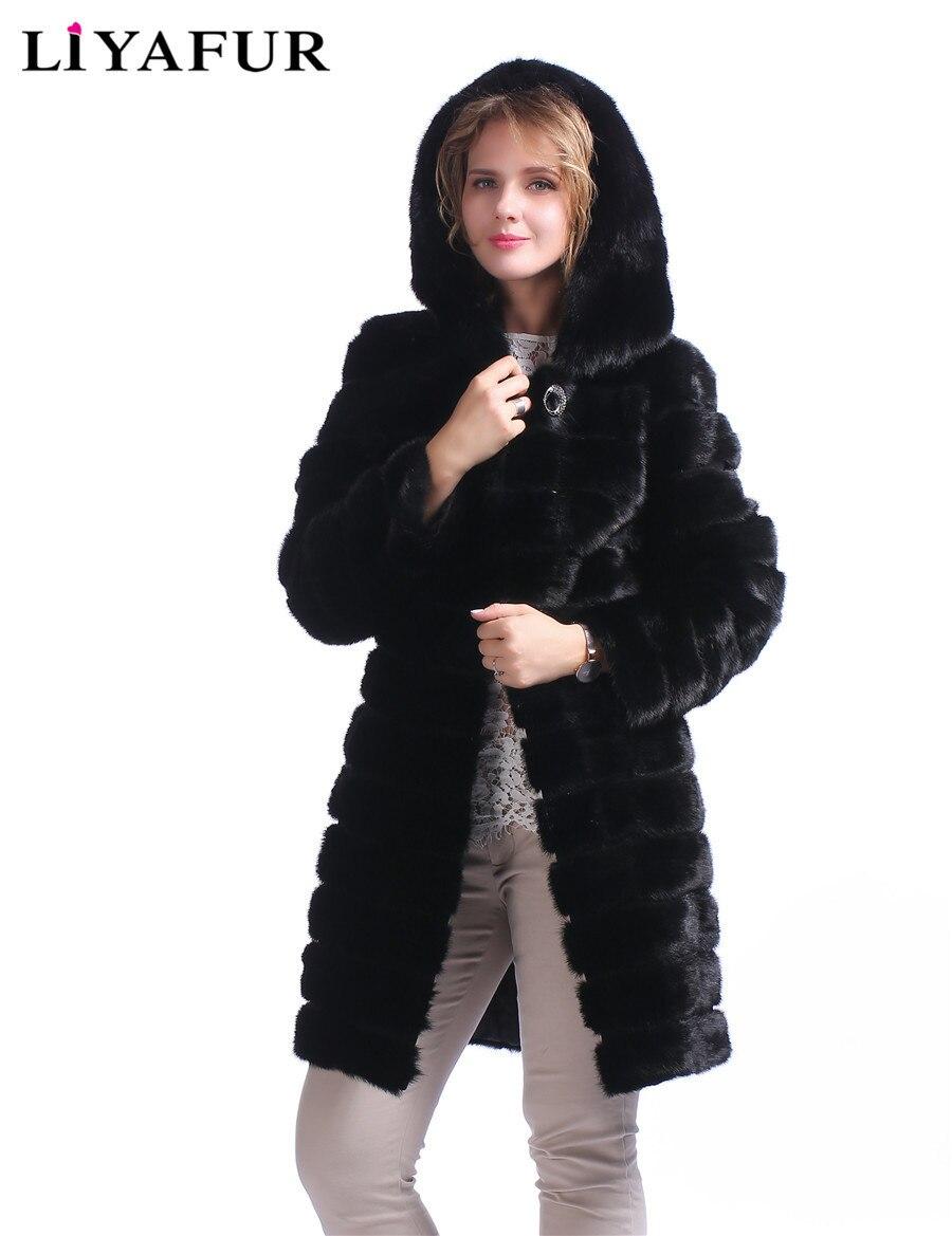 LIYAFUR Real de Piel de Visón Abrigo Con Capucha Para Mujeres Natural Genuino Ruso de Lujo de piel de Invierno Caliente Larga Abrigos Con Cinturón Negro prendas de vestir exteriores