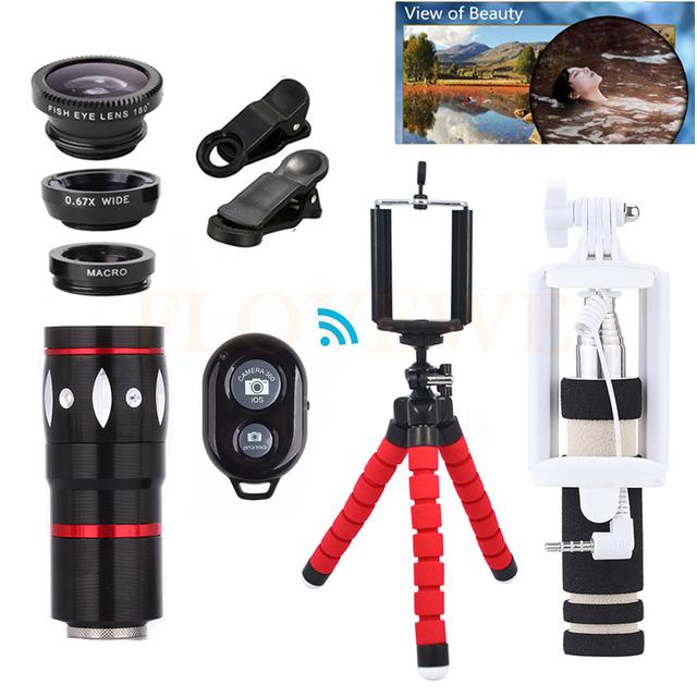 10X Teleobjetivo Zoom Lente Del Telescopio Del Teléfono Kit Trípode Pinzas de Pescado lente gran angular macro para iphone 5s 6 6 s 7 samsung