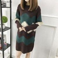 Plus Size XL XXL XXXL Fashion 2017 Women Spring Autumn New Knitted Dress Long Sleeve Loose Pullovers Mini Sweater Dresses L1640