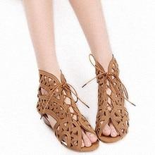 ENMAYLA Big Size 34-43 Fashion Cutouts Lace Up Women Sandals Open Toe Low Wedges Bohemian Summer Shoes Beach Shoes Women