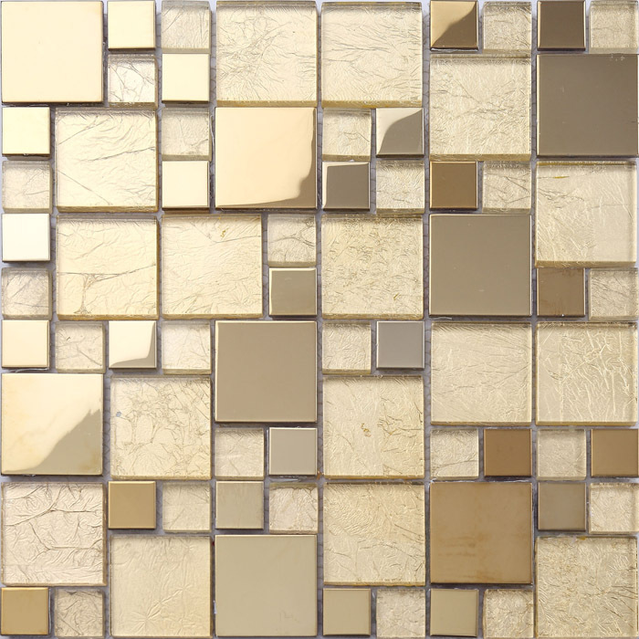 23x23mm 48x48mm Square Golden Stainless Steel Mixed Glass Tiles Factory Directly Kitchen Backsplash Bathroom Tiles