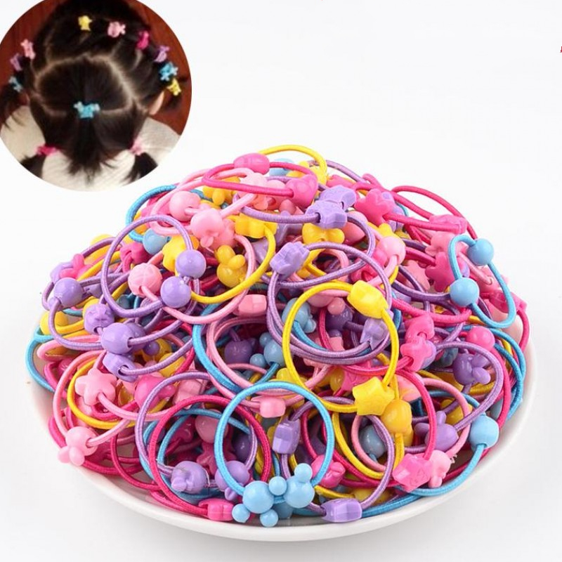 50PCS/Lot 3.0CM Lovely Stars Children Cute Rubber Bands Ponytail Holder Elastic Hair Band Head Ties Cartoon Accessories