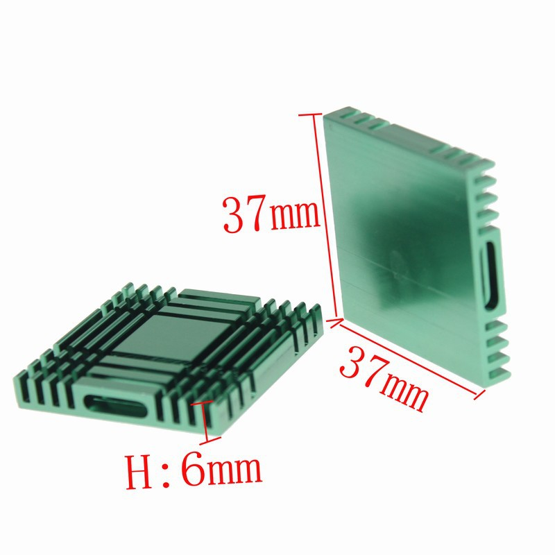 <font><b>30</b></font> Pieces/lot 37mm <font><b>x</b></font> 37mm <font><b>x</b></font> 6mm Green Cooling Cooler Heatsinks <font><b>Heat</b></font> <font><b>Sink</b></font> Aluminum Heatsink image