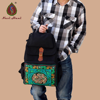 Newest Ethnic Embroidery Backpack Fashion Man Travel Bags Black Canvas Embroidered Bags