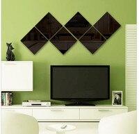 Urijk Creative Box Mirror 9 Pcs Wall Stickers Bathroom Home Decor Acrylic Mirrored Decorative Sticker Wall