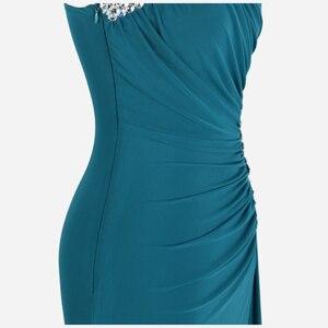 Image 5 - Angel fashions Beading One Shoulder Silt Pleat Draped Evening Dress vestido de noiva 411 Green