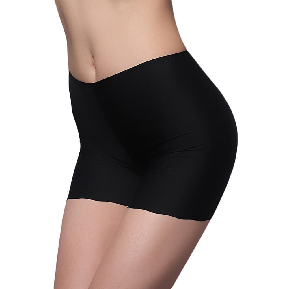 Women Soilid Color Seamless Ice-silk Quadrangle Underpants Short   Leggings   Gift