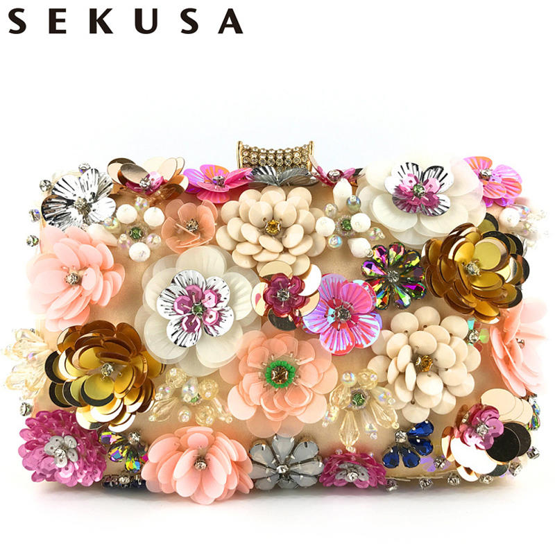 SEKUSA Flower Bohemian Handmade Style Women Evening Bags Crystal Party Wedding Bridal Lady Day Clutches Purse