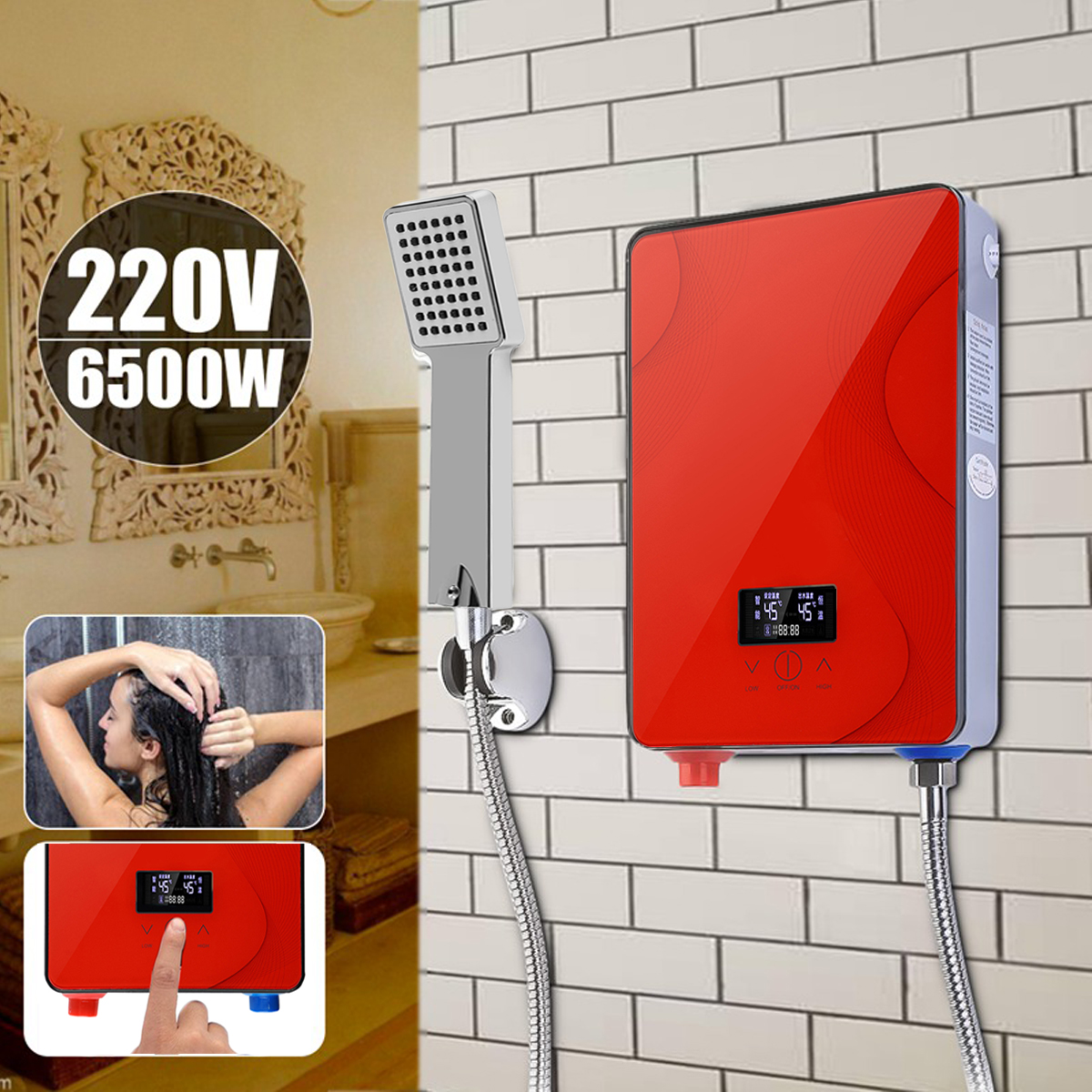 6500W Tankless Instant Electric Hot Water Heater 220V Boiler Bathroom Shower Set Safe Intelligent Automatically Tempered Glass6500W Tankless Instant Electric Hot Water Heater 220V Boiler Bathroom Shower Set Safe Intelligent Automatically Tempered Glass