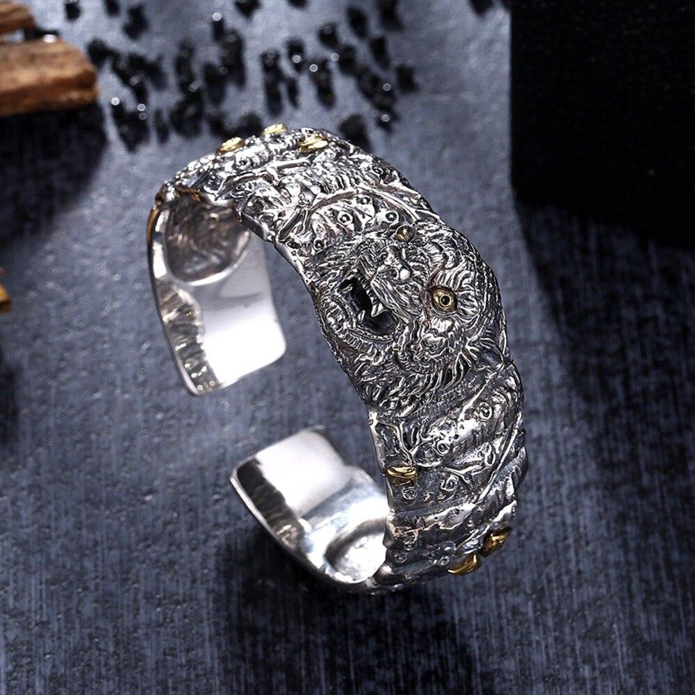 GOMAYA 2018 vente chaude 925 argent Sterling délicatement sculpté tête de lion Bracelets Thai argent manuel Bracelets bijoux de mode