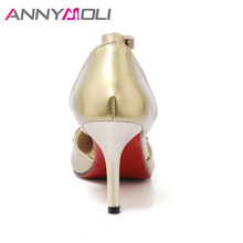ANNYMOLI Women Shoes High Heel Ankle Strap Women Pumps 2017 New Autumn Footwear Gold Shoes Rhinestone Lady Pumps Big Size 33-42