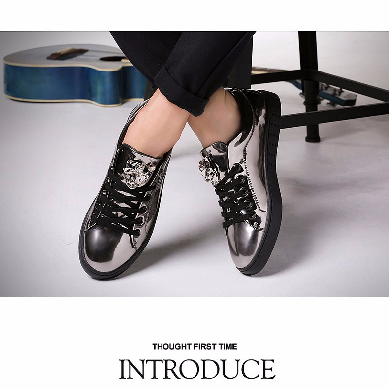 KUYUPP 2016 High Quality PU Patent Leather Men Flats Shoes Leopard Head Sequined Skate Shoes Round Toe Lace Up Men Flat Heel Y31 (12)