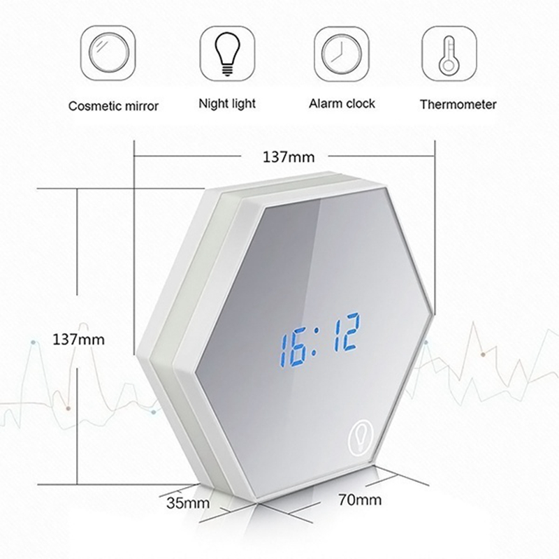 JULYS SONG LED Alarm Clock Digital Clocks Despertador Glass Mirror Electronic Desktop Clock Thermometer Night Ligh Timer Wekker