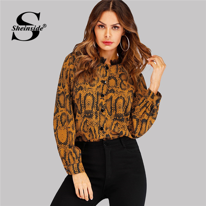 Sheinside Fashion Snake Skin Print Contrast Lace Blouse Women Button Blouses 2019 Spring Casual Stand Collar Animal Print Shirt