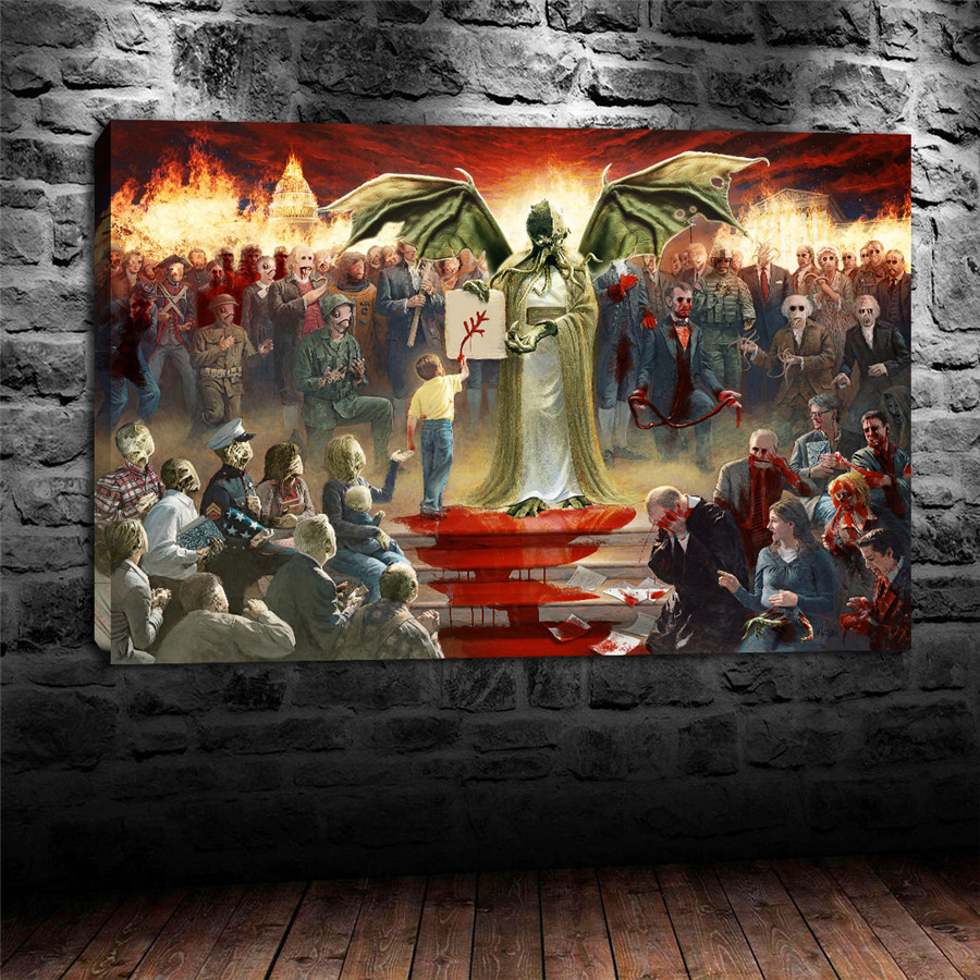Home Decor Nation: One Nation Under Cthulhu Canvas Painting Living Room Home