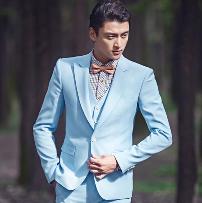 Sky blue blazer men formal dress latest coat pant designs suit men ...