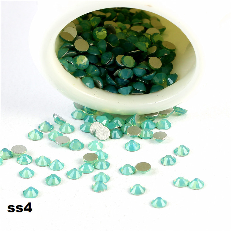 CCBLING ss4 (1.5-1.7mm) Green Opal Flat Back ( Nail Art decorations ) Non Hot Fix Glue on Rhinestones for nail crystal nail tool glass flat back nail art crystal ab glue on non hotfix rhinestones for nails diy nail accessori decorations