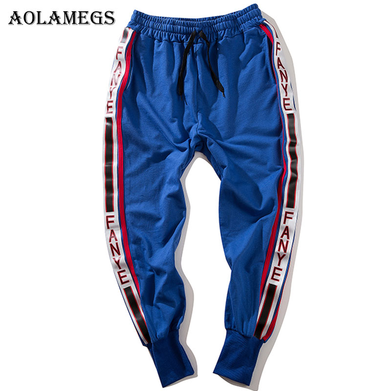 Aolamegs Pants Men Side Striped Pants Track Pants Male Trousers Elastic Waist Fashion High Steet Joggers Sweatpants Streetwear