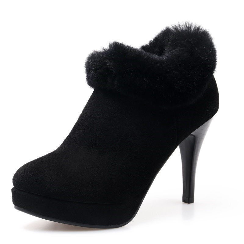 ФОТО Nubuck Grain Leather woman casual shoes Round Toe black Comfortable bottom sole high heels Feathers ankle boots