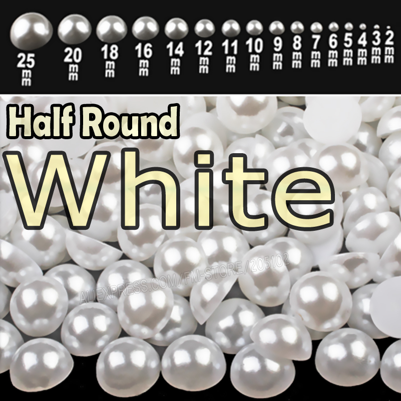 White Half Round Flatback Pearls mix sizes 2mm 3mm 4mm 5mm 6mm 8mm 10mm to 25mm all sizes for nail art ABS imitation pearl beads