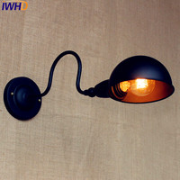 IWHD Edison Black Retro Wall Lights LED Swing Long Arm Wall Light Loft Style Industrial Sconce Lampara Pared Applique LED