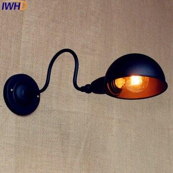 IWHD Edison noir rétro appliques LED balançoire Long bras Applique murale Style Loft Applique industrielle Lampara Applique LED