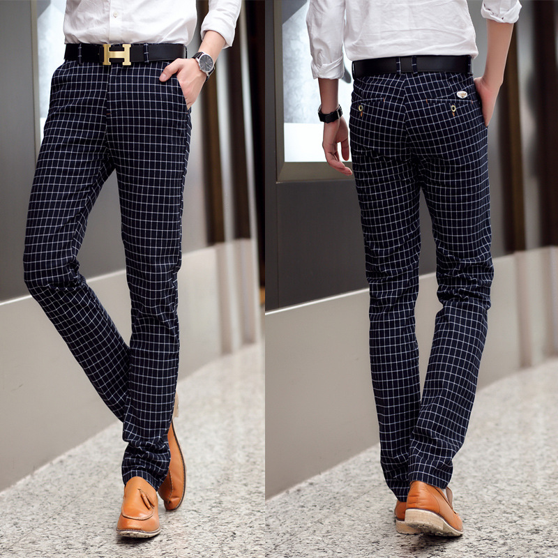 2015 Men 39 S Fashion British Style Men Plaid Pants Pencil Male Casual Slim Fit Outdoors Suit Pants