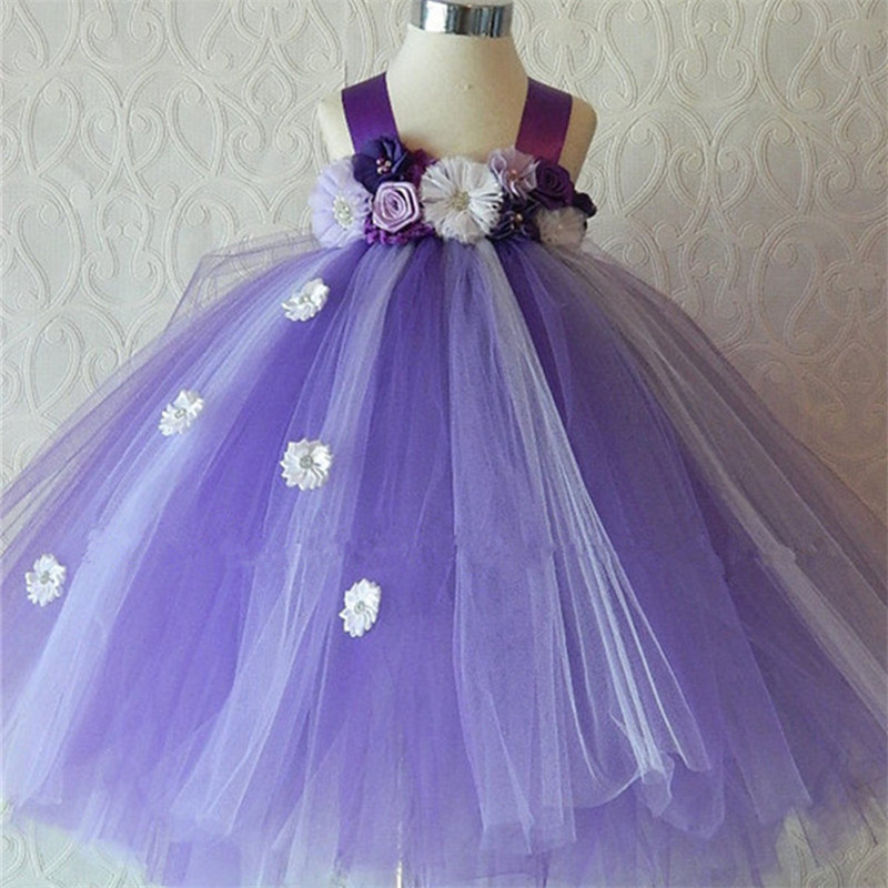 Purple Girls Dress for Baby Tutu Dresses Girl Elegant Wedding Party Flower Princess Dress for girls 10 years elegant white flower girl dresse light pink girls tutu dresses with pearls flower baby girls dresses for wedding party birthday
