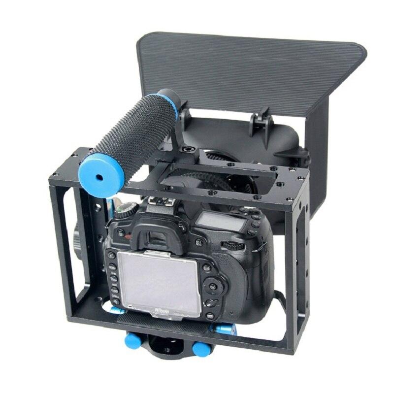 Handheld 3 em 1 Conjunto Gaiola Câmera DSLR Rig + Follow Focus + Matte Box para Canon 5D2 5D3 6D 7D 60D 70D Fazer Filme de Estúdio acessórios