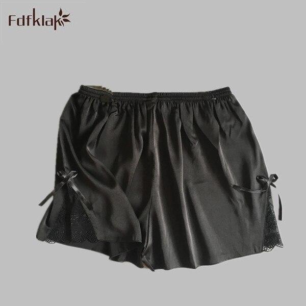 2017 Summer New Fashion Black Silk Pajama Bottoms Pants For Home Sleep  Shorts Pajamas Pants Plus Size Lace Pijamas Pants E1171 def7d54a9