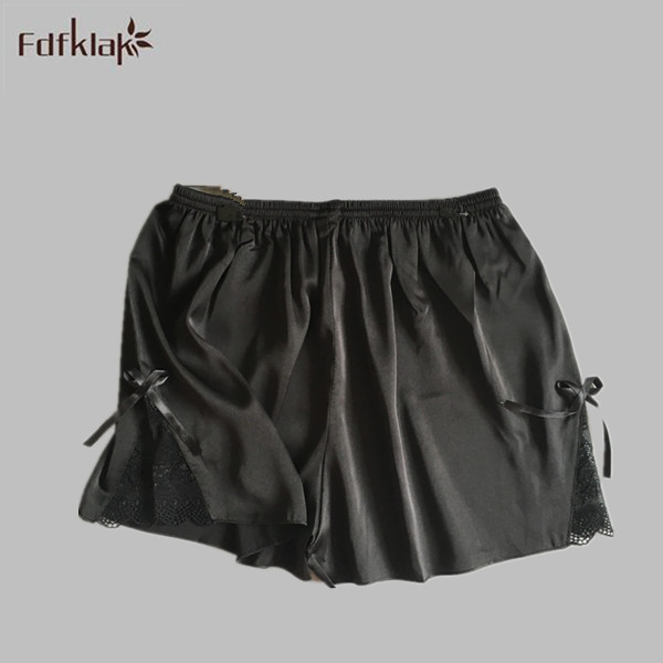 2017 Summer New Fashion Black Silk Pajama Bottoms Pants For Home Sleep Shorts Pajamas Pants Plus Size Lace Pijamas Pants E1171