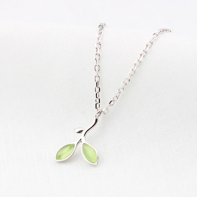 Cats eye stone sterling 925 silver leaves necklace pendants cats eye stone sterling 925 silver leaves necklace pendants simple cute trendy design necklace for women mozeypictures Gallery