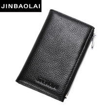 New Thin Cow Leather Business Card Wallet Zipper Brand Design Card Holder with Coin Pocket Bifold Male purse High Quality Cards(China)